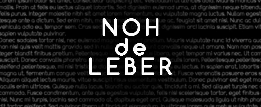Visuel NOH de Leber écrit en blanc sur fond noir.