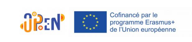 """Visuel de Logo Erasmus+ Open Up et du drapeau de l'Union Européenne. A droite de l'image, il est écrit en bleu : """"Cofinancé par le programme Erasmus+ de l'Union Européenne."""""""