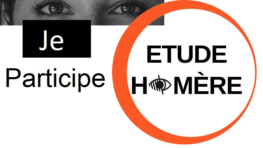 Visuel comportant le texte : étude Homère, je participe